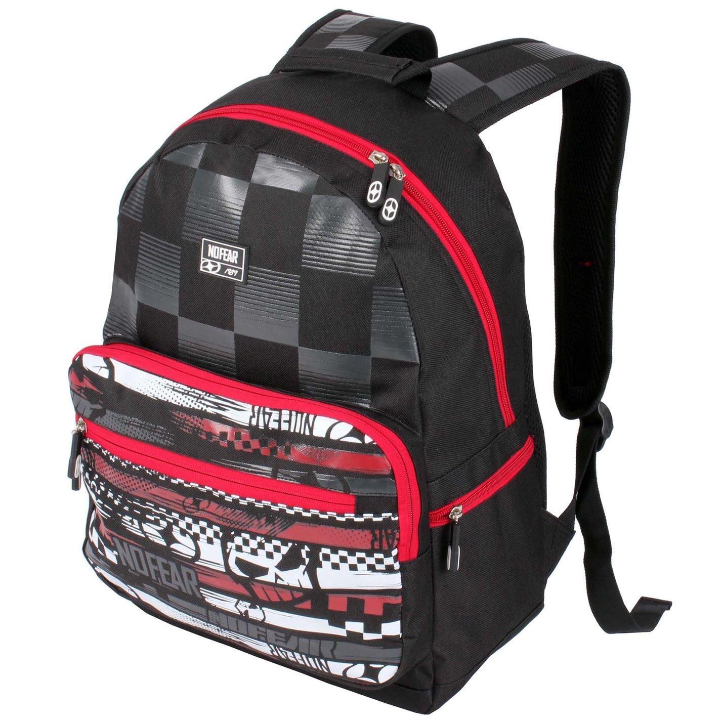 f2eb3c560f002 No Fear MX Skate Backpack Black Red White Rucksack Sports Bag Gymbag Kitbag  H  44cm  W  38cm  D  8cm.  Amazon.co.uk  Sports   Outdoors