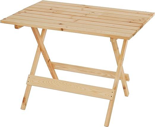 Mesa de madera Barcelona, mesa plegable mesa de jardín 100 x 74 x 71 cm, maciza natural: Amazon.es: Jardín