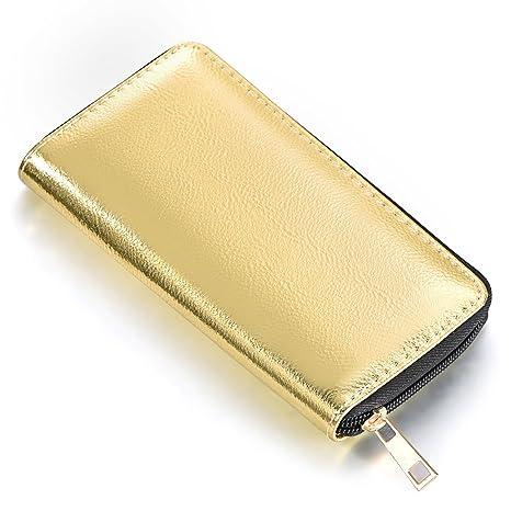 DonDon Cartera portamonedas para mujer blanda, con aspecto metalizado cierre de cremallera en dorado oro