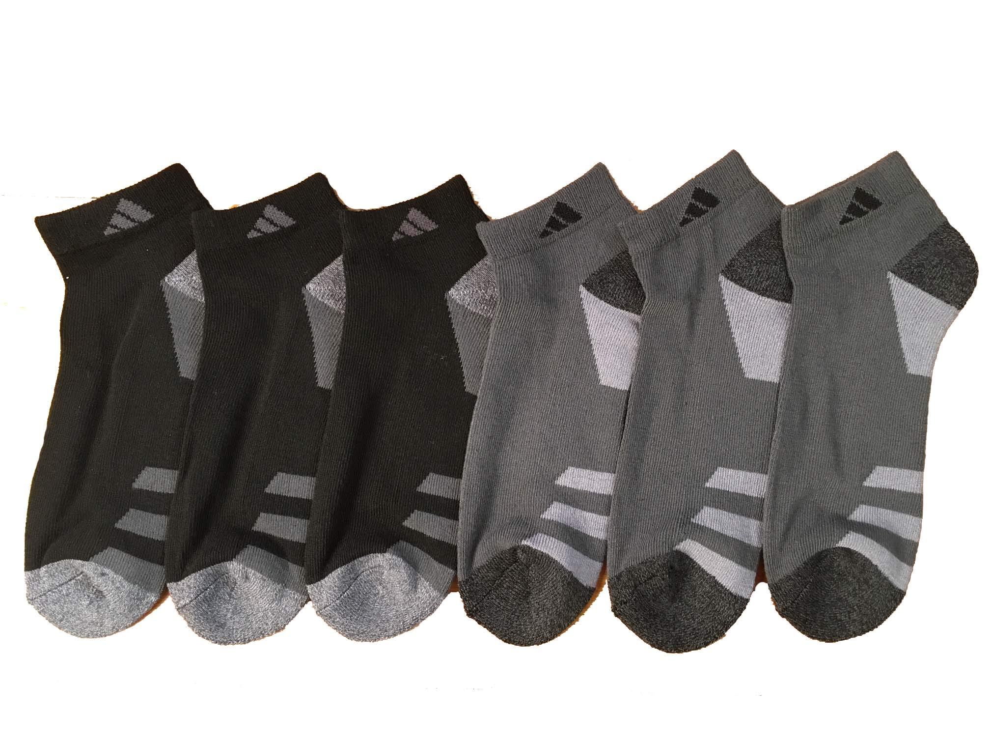 adidas Men's Athletic Low Cut Sock 6-Pack (Black/Charcoal/Heathered Logo) by adidas