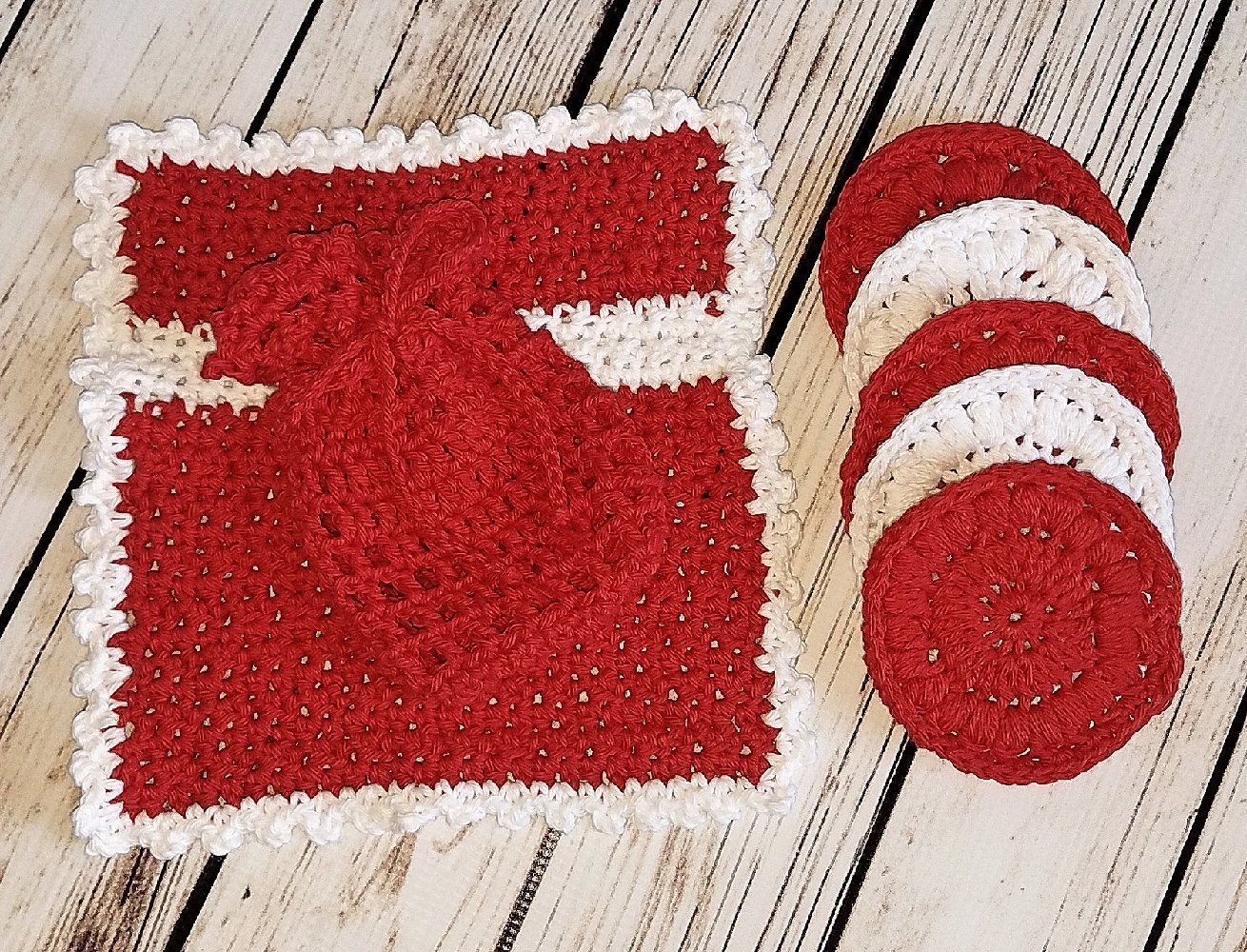 Red and White Invigorating yet gentle face and body poufs. Set includes washcloth, soap saver, and reusable facial scrubbies.
