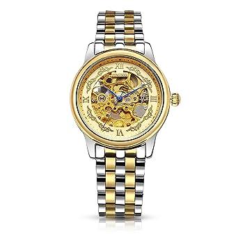 2a6ebdc1c3d53 Time100 Montre homme automatique squelette mécanique bicolore or et argent  #W60015G.01AN