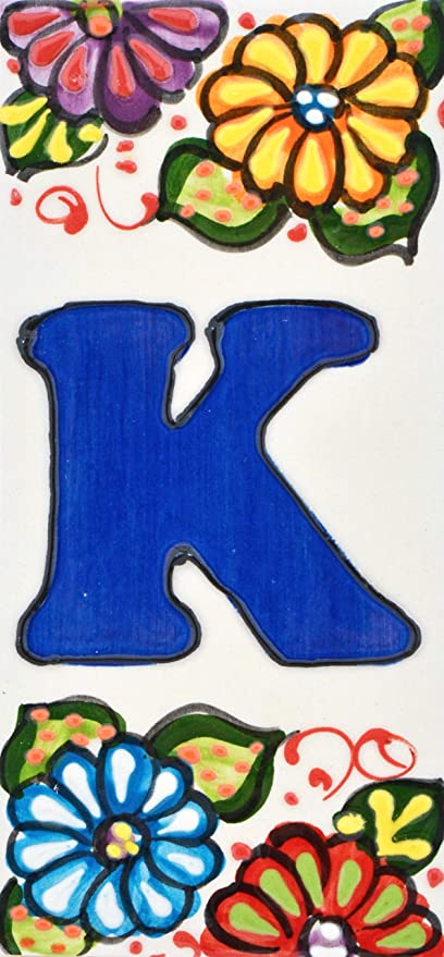 direcciones y se/ñal/éctica Texto personalizable Letreros con numeros y letras en azulejo de ceramica policromada pintados a mano en t/écnica cuerda seca para placas con nombres Dise/ño MOSAICO MEDIANO 10,9 cm x 5,4 cm. ESPACIO