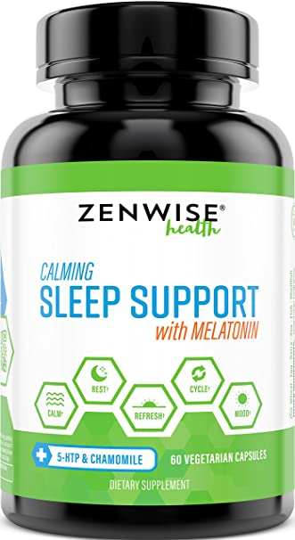 Natural Sleeping Aid - Nighttime Sleep Support Supplement - With 100 MG 5  HTP + Magnesium