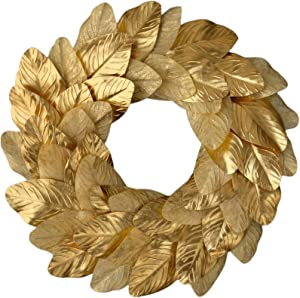 idyllic Magnolia Leaves Wreath 18 Inches Farmhouse Decoration Adjustable Vintage Front Door Wreath for Home Decor, Centerpiece (Gold)