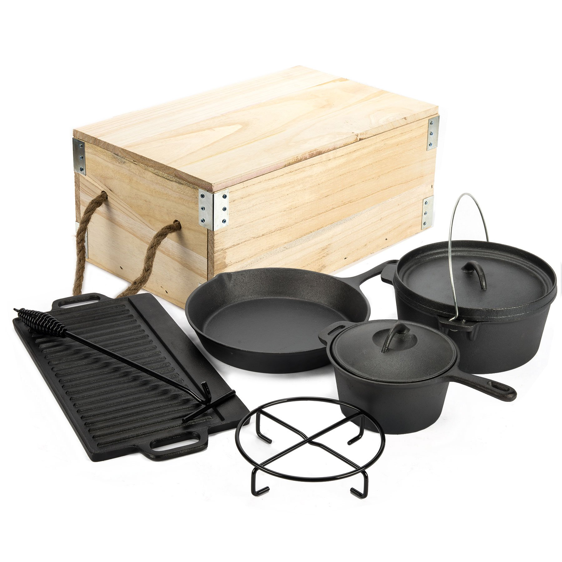 CO-Z Pre-Seasoned 7 Piece Heavy Duty Outdoor Camp Pot Cast Iron Cookware Set Including a Dutch Oven, a Large Skillet, a Sauce Pot, a Griddle, a Trivet and a Lid Lifter by CO-Z