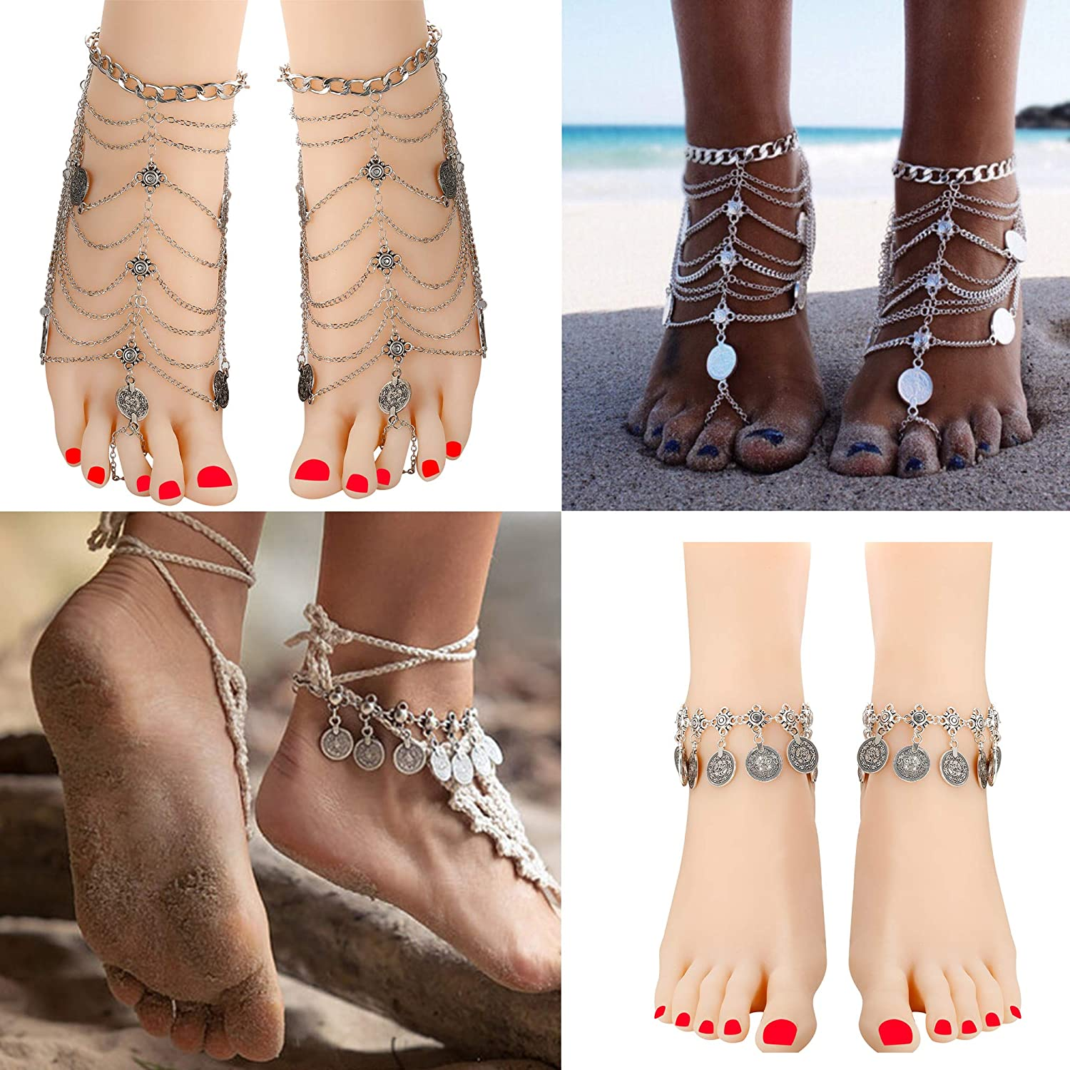 Jstyle 2Pairs Anklets for Women Girls Foot Jewelry Barefoot Sandles Beach Wendding Coin Tassel Silver Anklet Bracelet JL-178