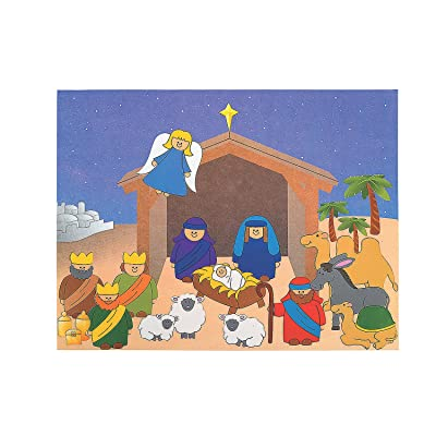 Fun Express - Dyo Nativity Sticker Scene for Christmas - Stationery - Stickers - Make - A - Scene (Lrg) - Christmas - 12 Pieces: Toys & Games