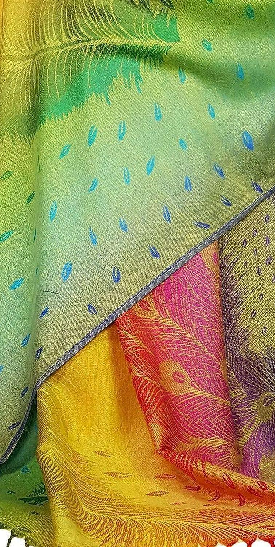 Chal de tacto sedoso con los colores del arco/íris y estampado floral o cachemira GFM