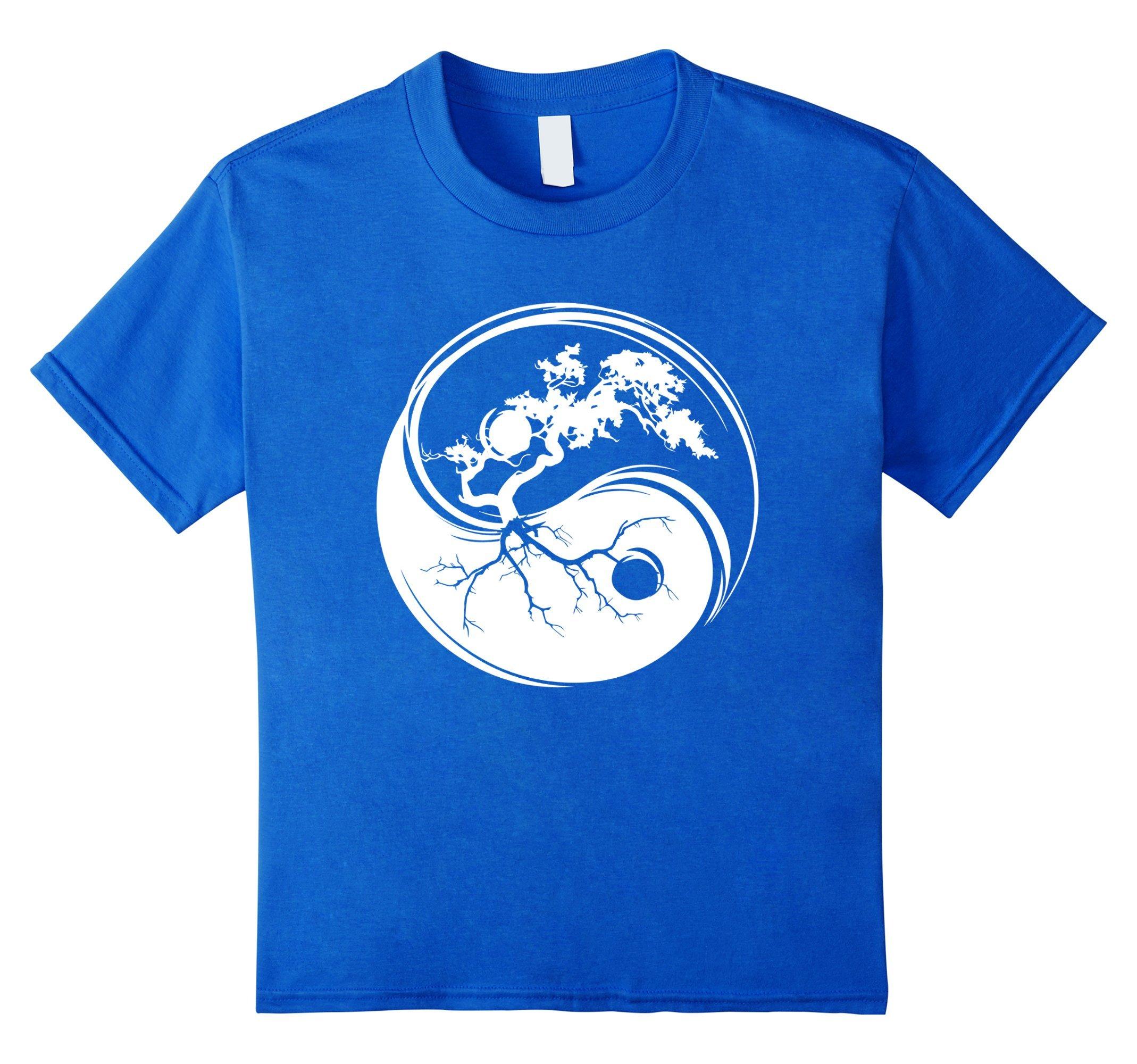 Kids Ying Yang Bonsai Tree Philosophy Shirt - Light & Dark Zen 8 Royal Blue