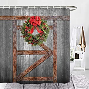 "ORTIGIA Christmas Shower Curtain Set, Rustic Vintage Wooden Barn Door of Farmhouse Bath Curtains,Waterproof Polyester Fabric Shower curtain-72 W x 72"" L with Hooks"
