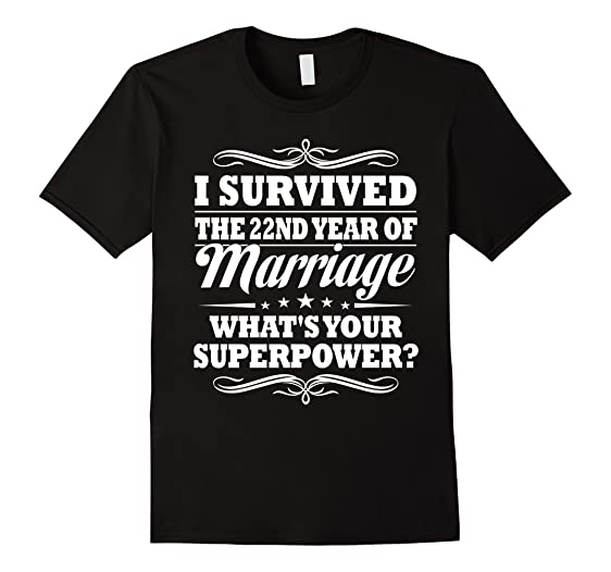 Mens 22nd Wedding Anniversary Gift Ideas For Her Him I Survived 2XL Black