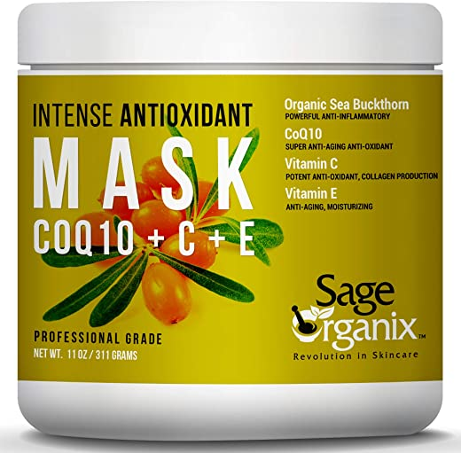 Sage Organix Exfoliating Pore Minimizing Glycolic Face Mask with Vit C & CoQ10, Deep Cleansing Anti Aging Firming Collagen Face Mask to Reduce Wrinkles, Dark Spots, Clear Pores & Combat Acne 11oz