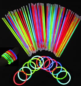 Vivii Glowsticks, 100 Light up Toys Glow Stick Bracelets Mixed Colors Party Favors Supplies (Tube of 100)