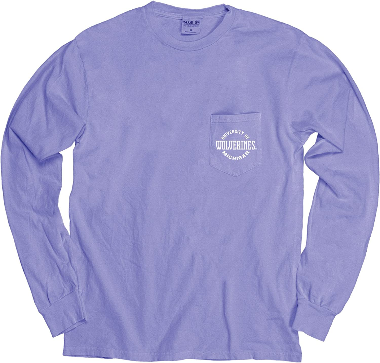 Blue 84 Adult Unisexs NCAA Mens Dyed Long Sleeve Raglan
