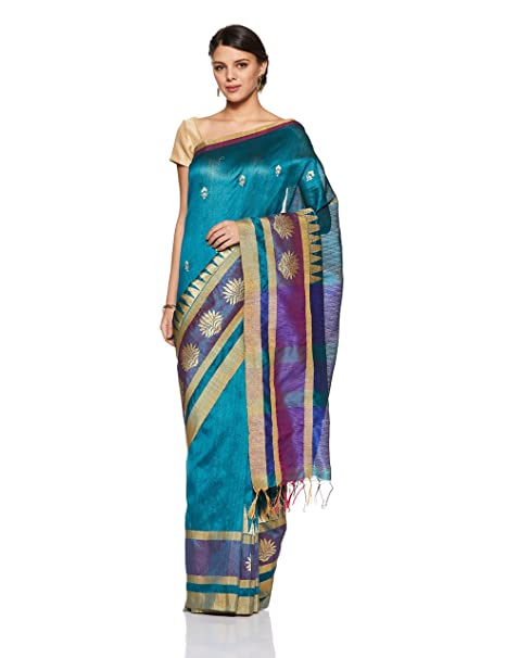 d05d4176508ff Aalia Art Silk Embroidered Saree with Blouse piece (8819-Teal Blue ...