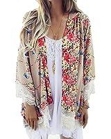 Zeagoo Damen Spitze Floral Chiffon Bluse Kimono Cardigan Bikini Cover UP Strandkleid