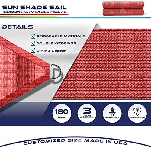 Windscreen4less 20 x 20 x 20 Sun Shade Sail Canopy in Bright Red with Commercial Grade 3 Year Warranty Customized