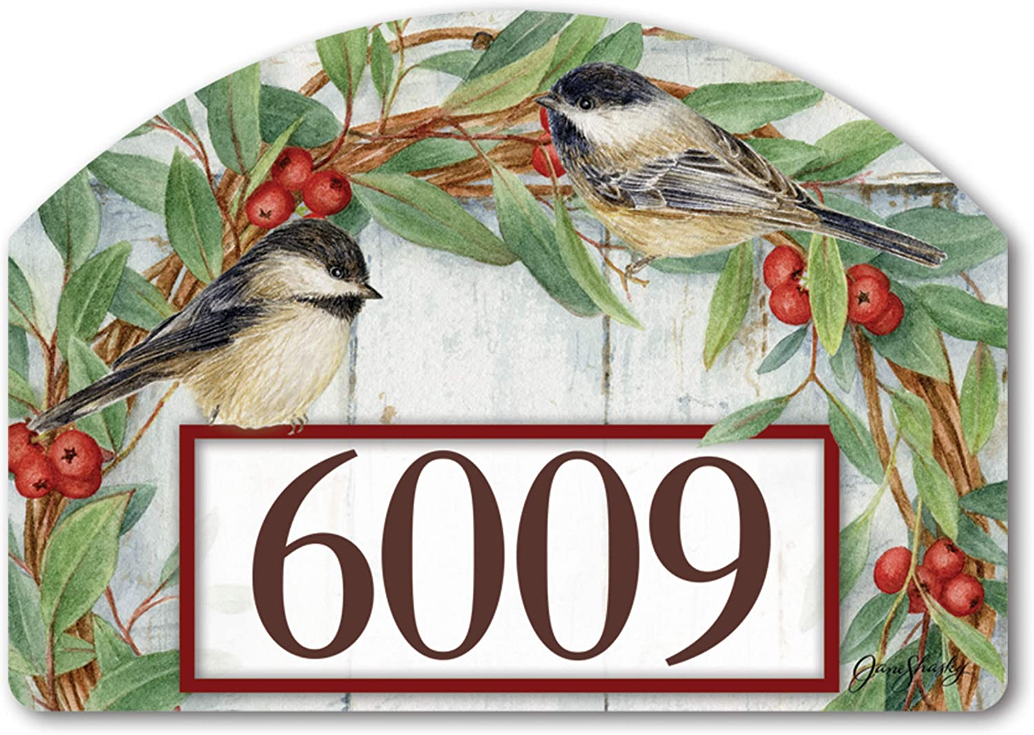 Yard DeSigns Studio M Chickadee Wreath Fall/Winter Decorative Address Marker Yard Sign Magnet, Made in USA, Superior Weather Durability, 14 x 10 Inches