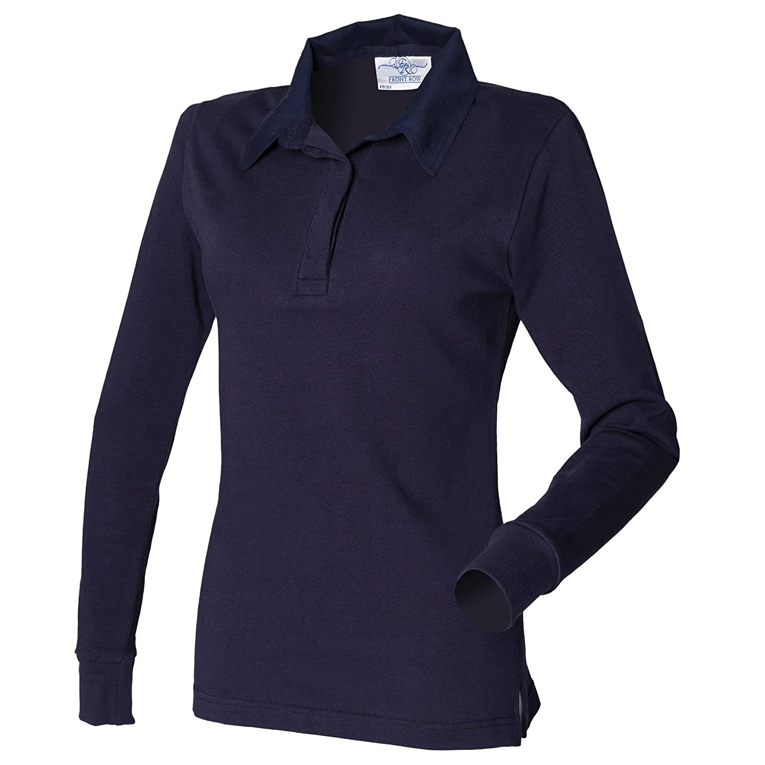 a4b46b17aa Front Row Womens/Ladies Long Sleeve Plain Sports Rugby Polo Shirt at Amazon  Women's Clothing store: