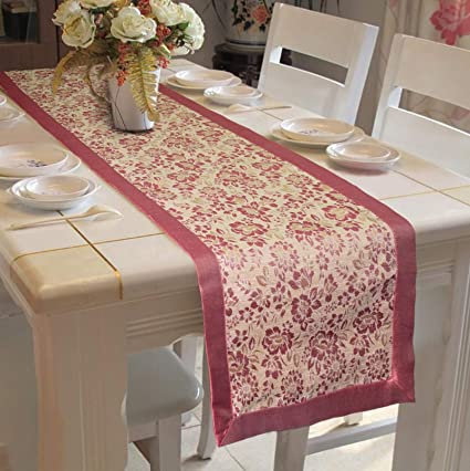Lushomes Pink Jacquard Design 4 Table Runner with Polyester Edge (Size: 16