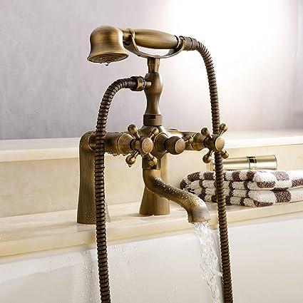 Antique Vintage Brass 6u0026quot; Centers Two Handle Bathroom Clawfoot Bathtub  Shower Combo Faucet Deck