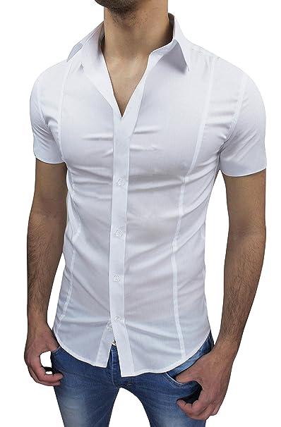 on sale 960ab efbdc AK collezioni Camicia Uomo Slim Fit Bianca Aderente Elasticizzata Manica  Corta Casual