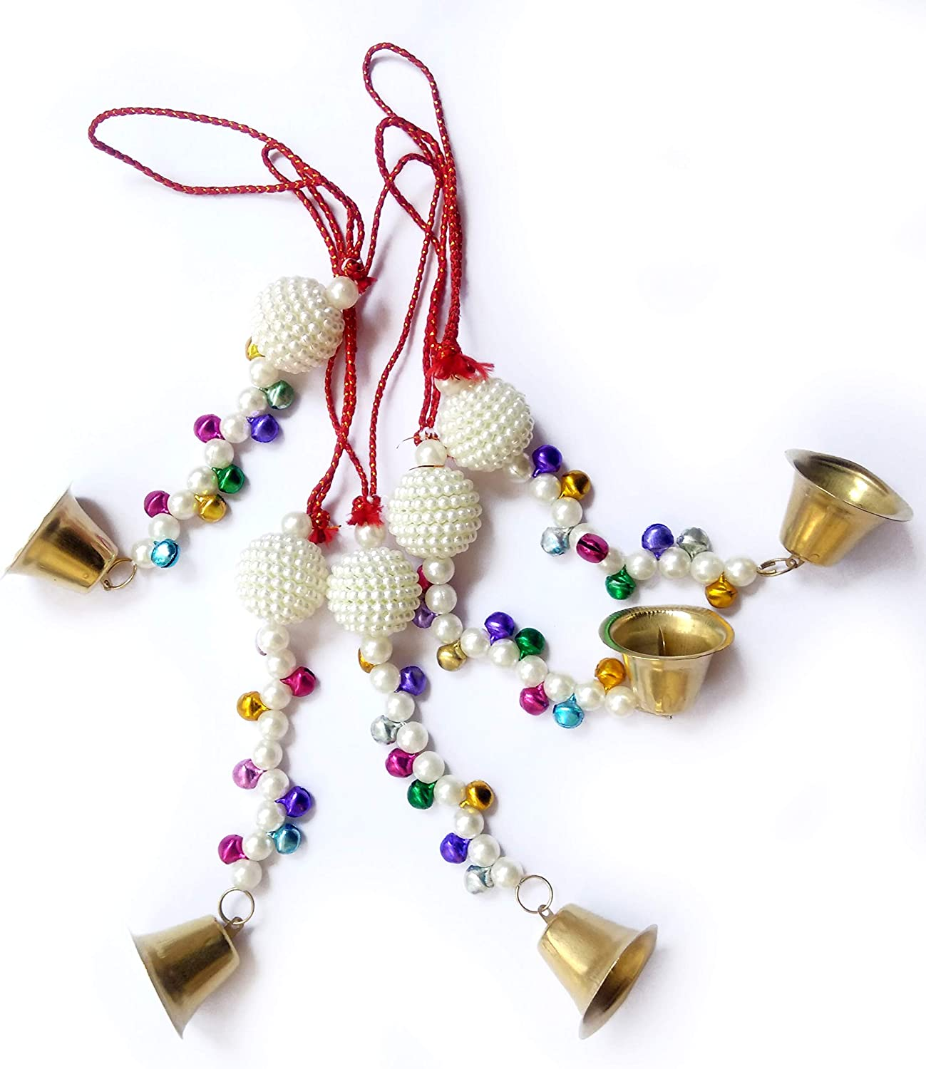 B.C. Wall Hanging Cloth Ring, Umbrella, Beads and Bell Christmas Decor Ornaments Hanging Layers Home Decoration Indian Traditional (White moti Hanging (5))