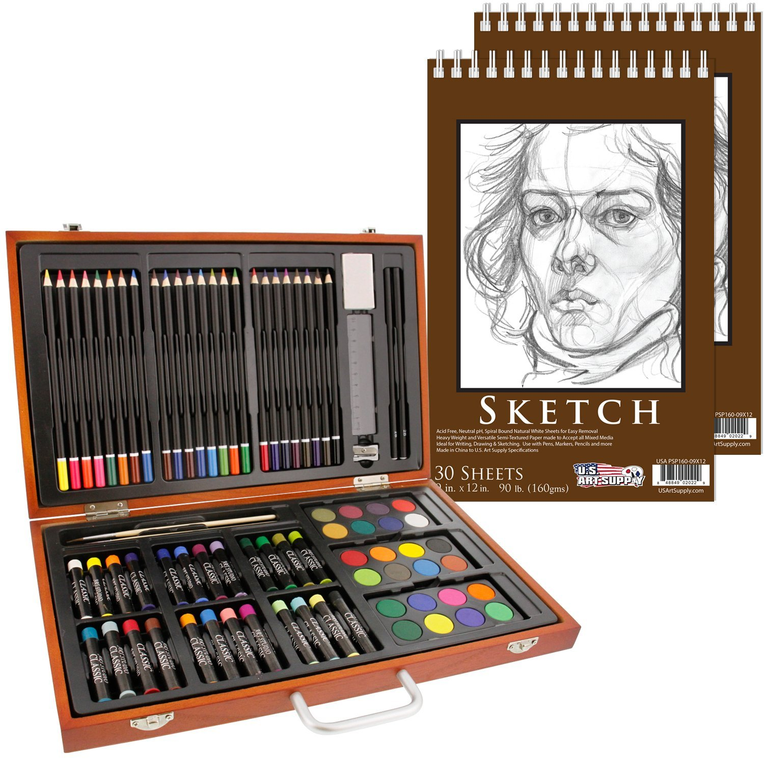 U.S. Art Supply 82 Piece Deluxe Art Creativity Set in Wooden Case with 2-Pads of 9''x12'' 90 Pound 30 Sheet Sketch Books
