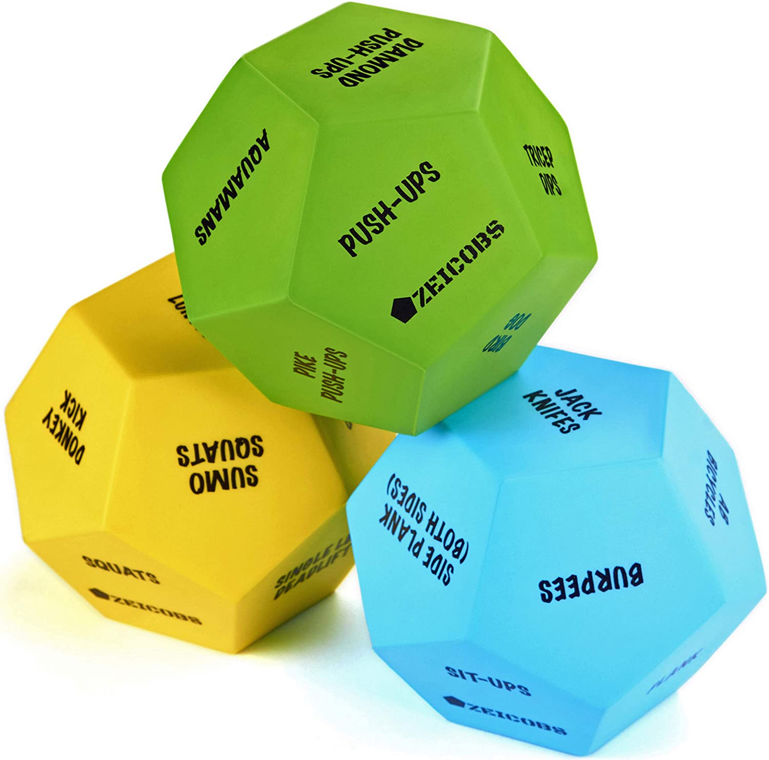 Zeicobs Exercise Dice for Home Workouts - Fitness Dice with 36 Unique Exercises and Instructions - 3 Pack Workout Dice for Gym, Crossfit WOD, Bodyweight HIIT, Cardio and Sports Training