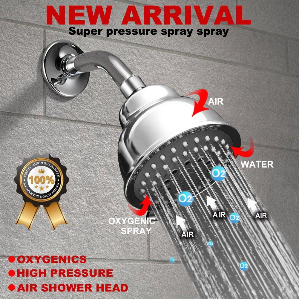 MEETYOO Ducha de lluvia de alta presi/ón de alto flujo de ahorro de agua cabezal de ducha de gran alcance 5 Ajustes extra/íble montado en la pared con filtro para Ba/ño Hotel SPA