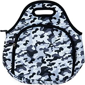 """Thermal Soft Neoprene Camo Army Grey Kids Lunch Bags by ITZI BITZI 