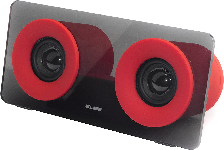 Elbe ALT-321-RD - Altavoz Bluetooth portátil, doble salida de audio, 6 W, Aux-In, color rojo