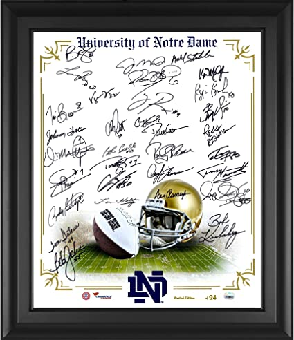 Notre Dame Fighting Irish Framed Autographed 20 quot  x 24 quot  In Focus  Photograph with 33 026642b0f