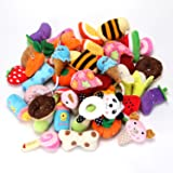 YOWOO Squeaky Plush Dog Toys All Kinds of Fruit Plush Toys Pet Dog or Cat Chew Toys 5pcs Random