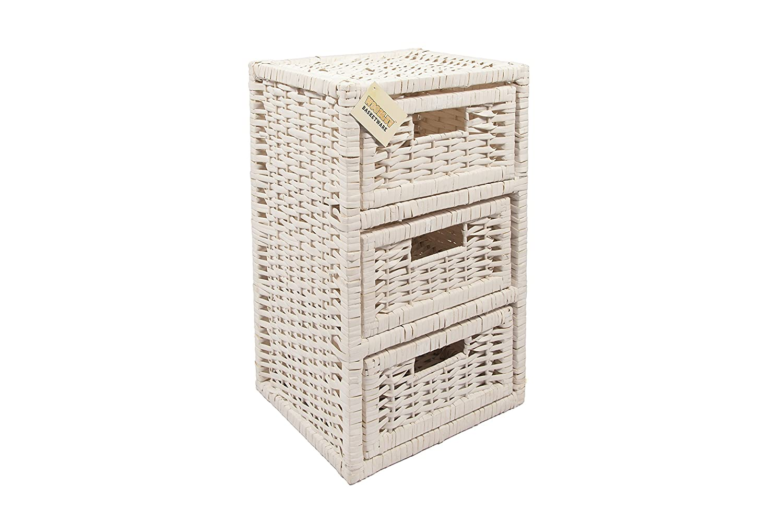 woodluv  drawer wicker storage tower unit for home bathroom bedroom white: white storage unit wicker