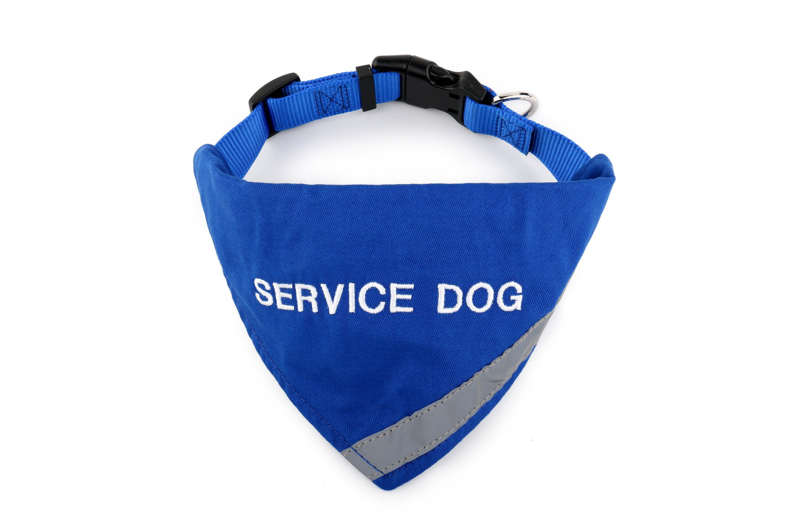 BANDANA embroidered with ''SERVICE DOG'' | Reflective Strip for pet safety | Built in matching collar to keep bandana secure | Metal ring to attach leash | Four Colors | All Sizes (X-Small to Large)