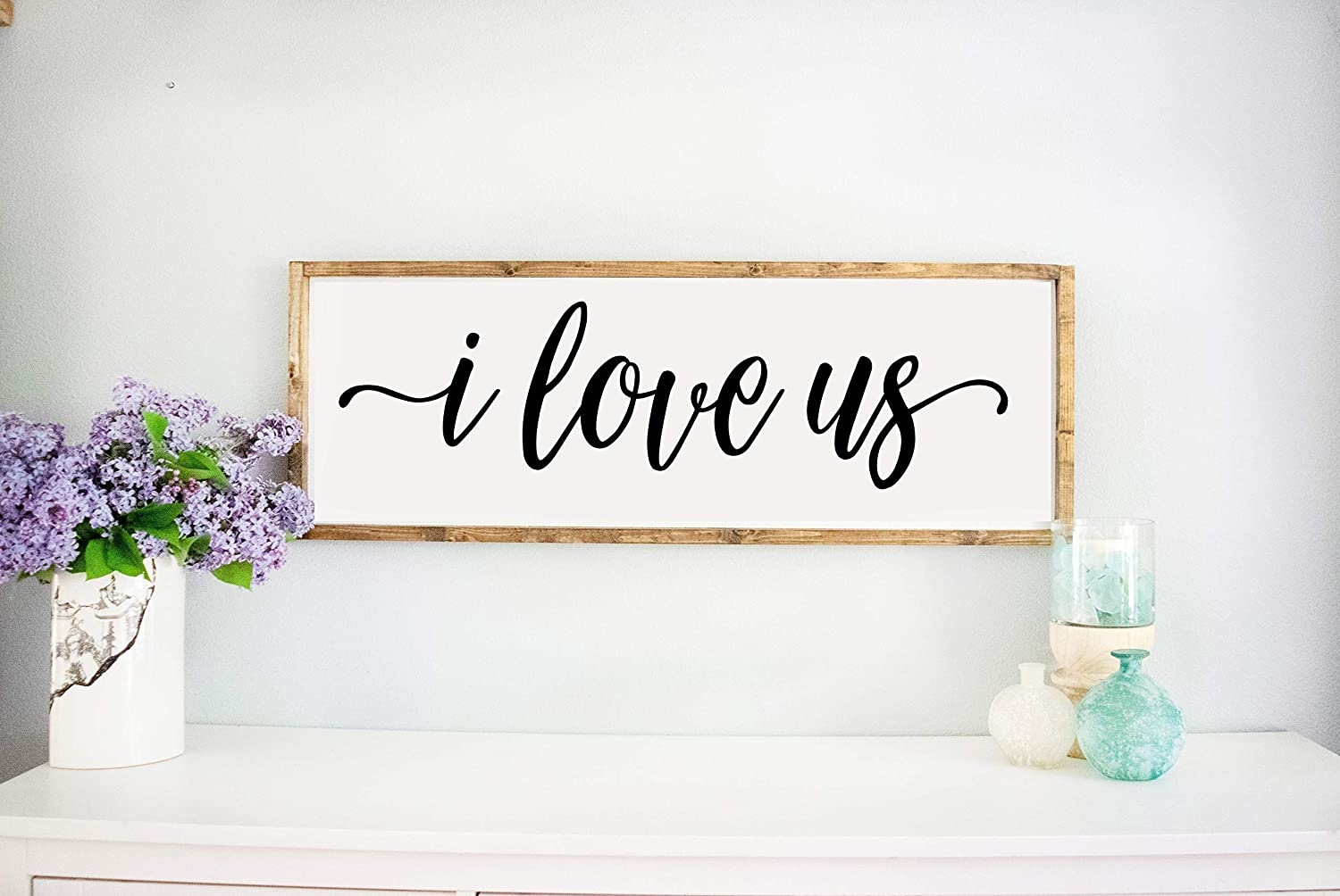 Amazon Com Bedroom Signs Framed White I Love Us Sign Master Bedroom Wall Decor Above Bed Signs Rustic Farmhouse Wall Decor Handmade