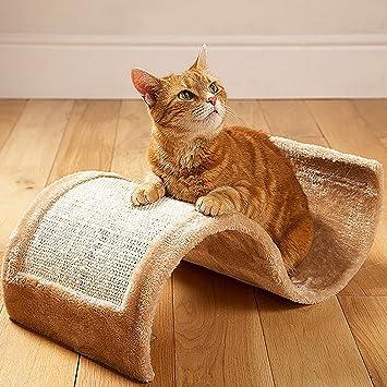 Ondulado/arañazos Junta rascador Cat con forro polar cama – Atractivo diseño de gatito mascota