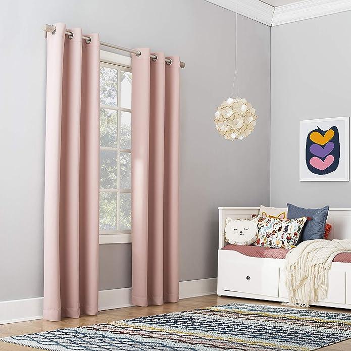 "63""x40"" Riley Kids' Bedroom Blackout Grommet Top Curtain Panel Blush - Sun Zero"