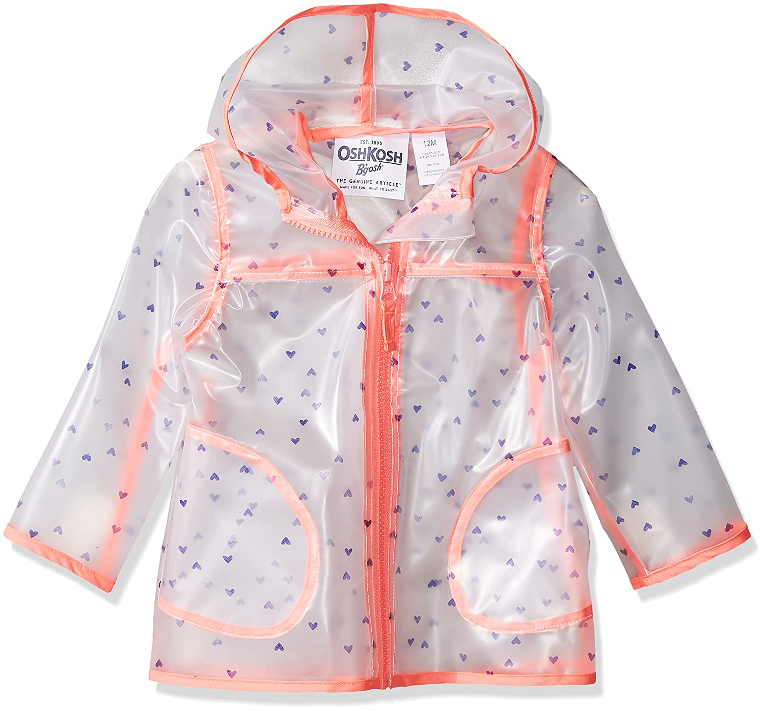 7df1e9a79187 Amazon.com  Osh Kosh Baby Girls Translucent Rainslicker Rain Jacket ...