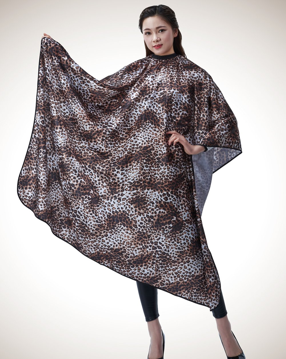 Colorfulife® Salon Professional Hair Styling Cape, Adult Hair Cutting Coloring Styling Waterproof Cape Satin Hairdresser Wai Cloth Barber Gown Home Camps & Hairdressing Wrap Leopard Pattern Capes