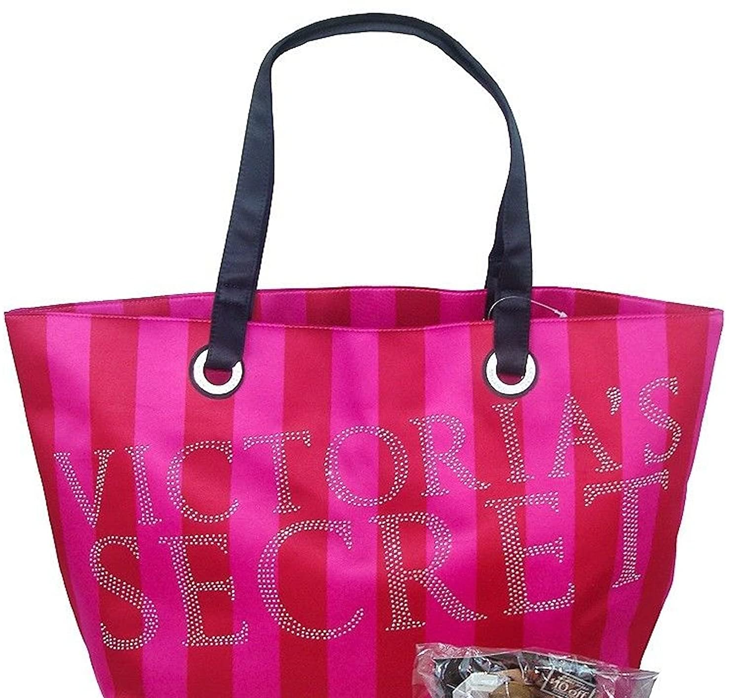 Victoria's Secret Pink Red Stripes Silver Studded Bling Tote Bag Limited Edition