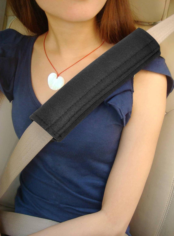 Trixes Sicherheitsgurt Gurt Cover 4 Autositz Komfort Gurtpolster Mit Haken Und Flausch Schwarz Travel Kissen Sicherheitsgurt Deckt Auto