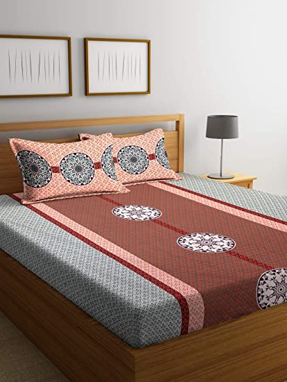Bombay Dyeing Breeze 120 TC Cotton Double Bedsheet with 2 Pillow Cover - Orange