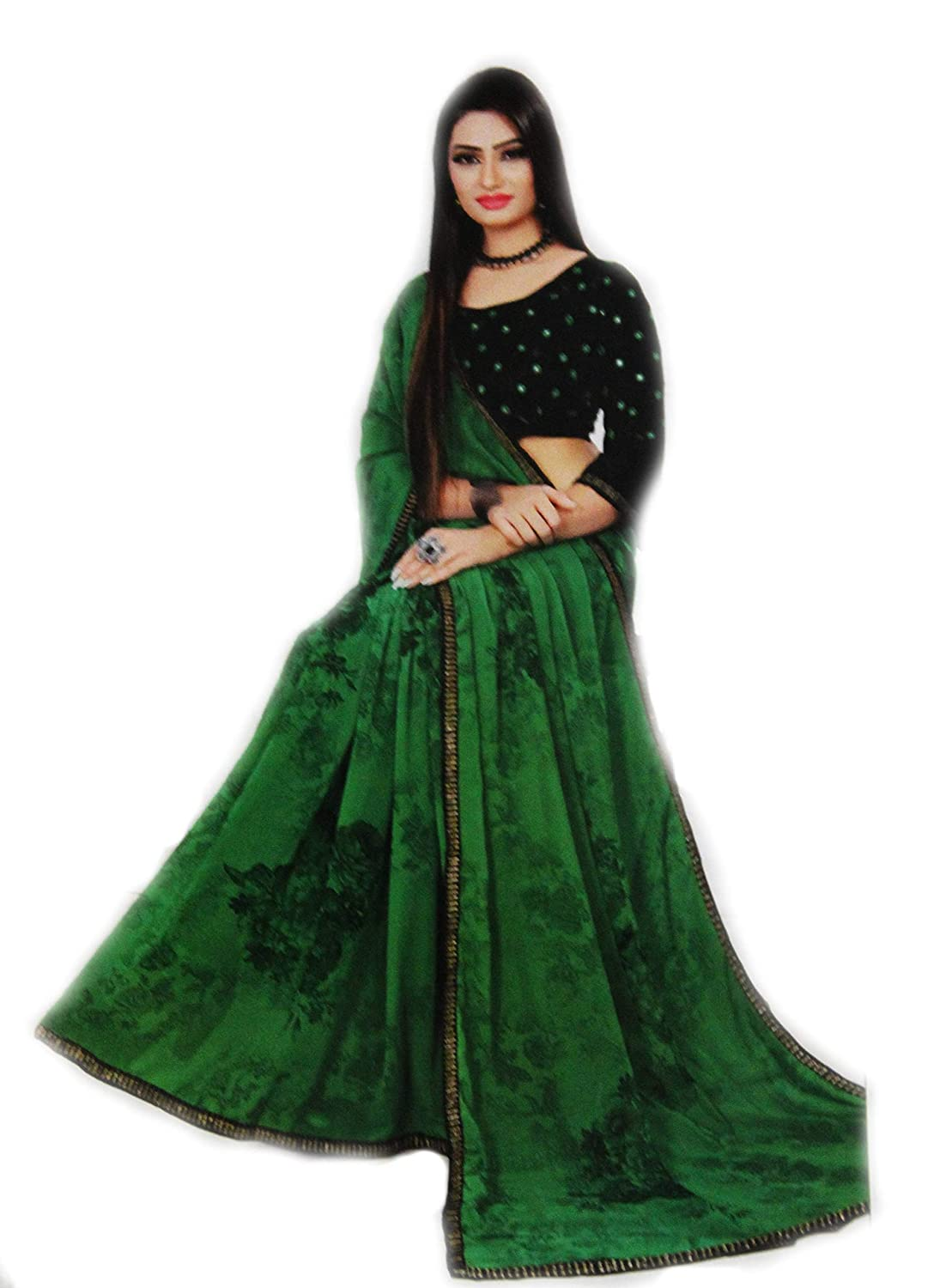 Buy Prameram Collections Women S Soft Silk Saree With Floral Print And Mirror Work Blouse Pc1 Slkflr Sr01 Green At Amazon In,Attractive Simple Butterfly Corner Border Designs For Projects