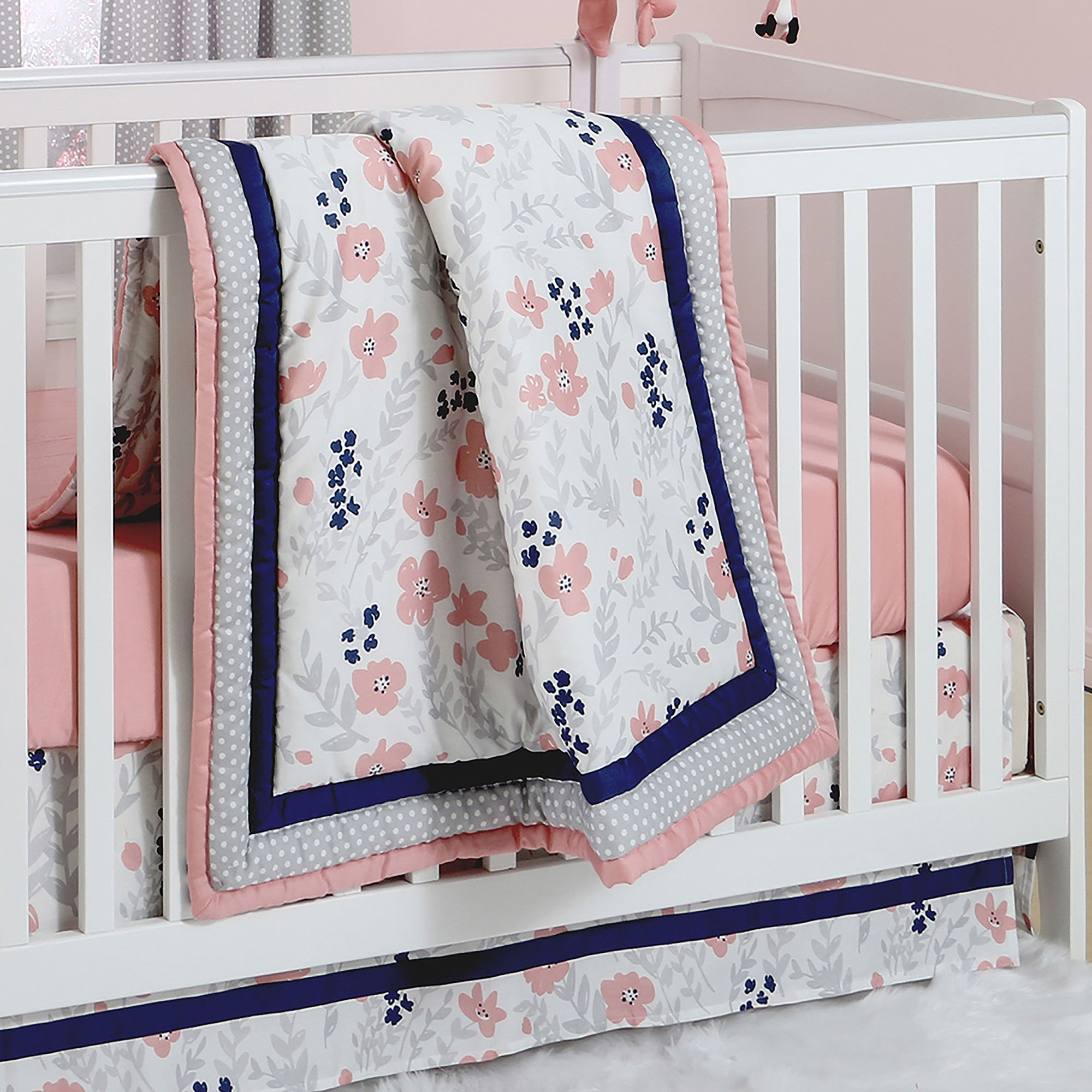 floral collection baby coral lane caden mint bumperless girl s bedding colette crib colettes products cribs set