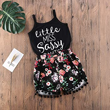 Toddler Baby Girls Summer Outfit Sleeveless Tank Top Floral Tassel Shorts Set 2Pcs Casual Clothes