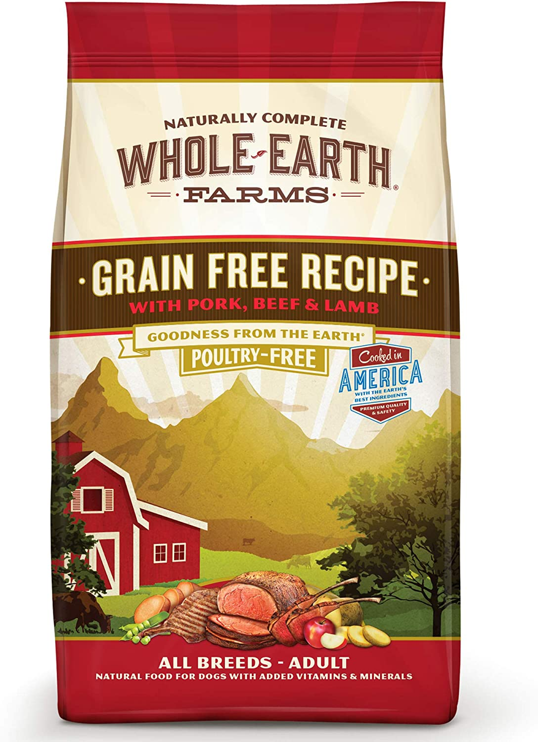 5. Whole Earth Farms Grain-Free Pork, Beef & Lamb Recipe