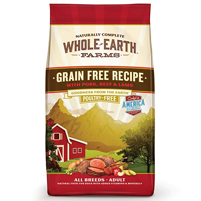 Whole Earth Farms Grain-Free Natural Dry Dog Food - Most Economical Choice for Dogs with Sensitive Stomach